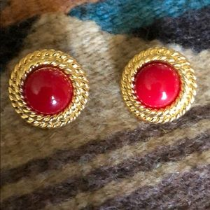 Vintage 80's red earrings with rope trim